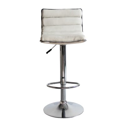 Linder Adjustable Height Swivel Bar Stool Upholstery: White