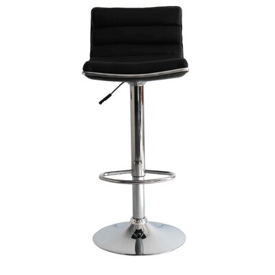Linder Adjustable Height Swivel Bar Stool Upholstery: Black
