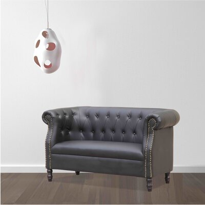Chester Chesterfield Loveseat Upholstery: Black