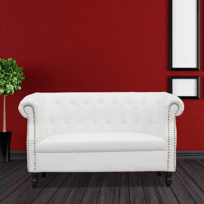 Chester Chesterfield Loveseat Upholstery: White