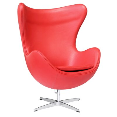 Inner Leather Lounge Chair Color: Red