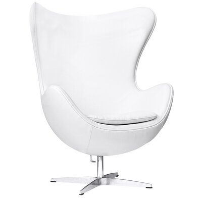 Inner Leather Lounge Chair Color: White
