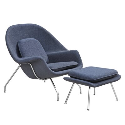 Woom Louge Chair and Ottoman Color: Black