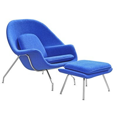 Woom Louge Chair and Ottoman Upholstery: Blue