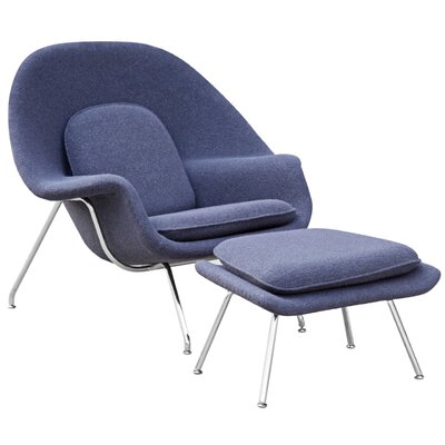 Woom Louge Chair and Ottoman Color: Blue Gray