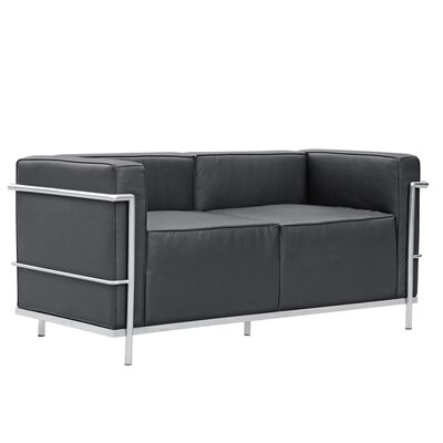 Grand Lc3 Leather Loveseat Upholstery: Black