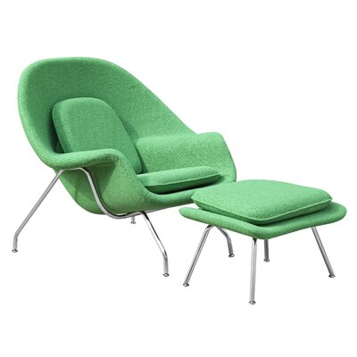 Woom Louge Chair and Ottoman Upholstery: Green