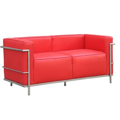 Grand Lc3 Leather Chesterfield Loveseat Upholstery: Red