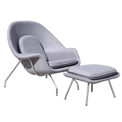 Woom Louge Chair and Ottoman Upholstery: Light Gray