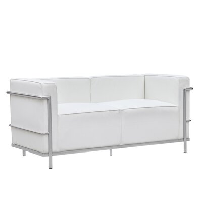 Grand Lc3 Leather Loveseat Upholstery: White
