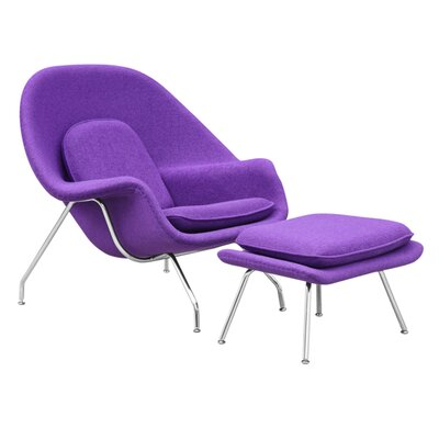 Woom Louge Chair and Ottoman Upholstery: Purple