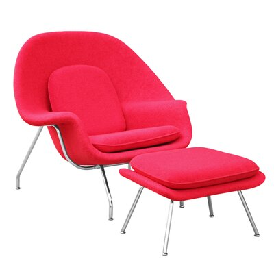 Woom Louge Chair and Ottoman Upholstery: Red