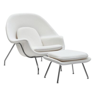 Woom Louge Chair and Ottoman Upholstery: White