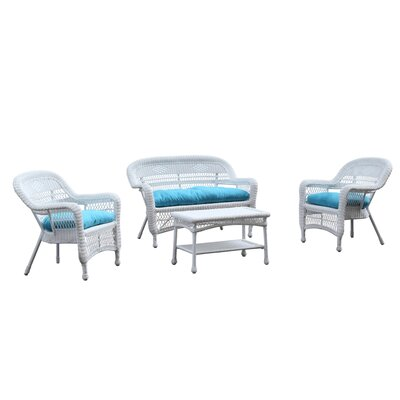 Portside White 4 Piece Deep Seating Group with Cushion Fabric: Blue