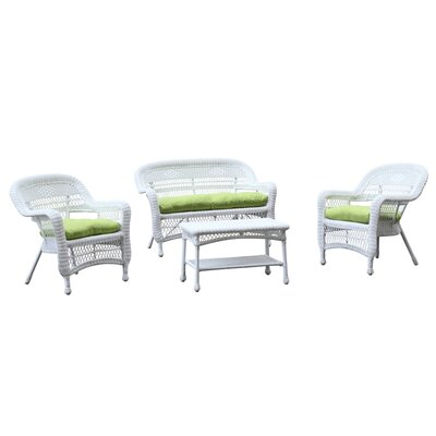 Portside White 4 Piece Deep Seating Group with Cushion Fabric: Green