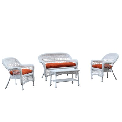 Portside White 4 Piece Deep Seating Group with Cushion Fabric: Orange