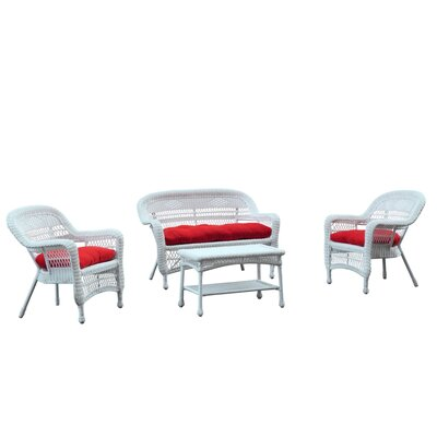 Portside White 4 Piece Deep Seating Group with Cushion Fabric: Red