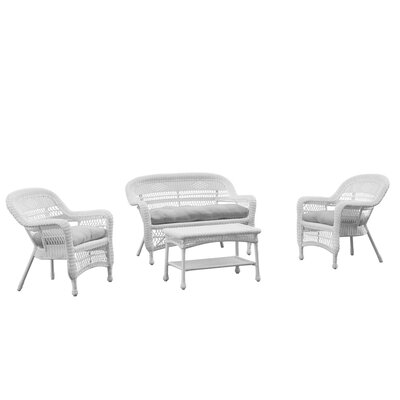 Portside White 4 Piece Deep Seating Group with Cushion Fabric: White