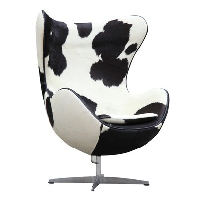 Inner Pony Hide Balloon Chair Upholstery: Black/White