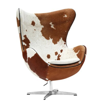 Inner Pony Hide Arm Chair Color: Brown/White
