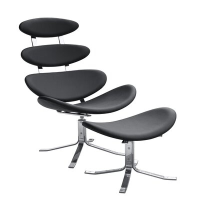 Crono Chair and Ottoman Upholstery: Black