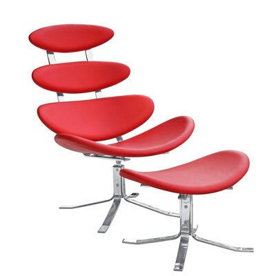 Crono Chair and Ottoman Upholstery: Red