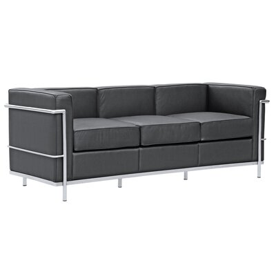 Cube  Leather Sofa Upholstery: Black