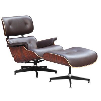Ease Swivel Lounge Chair and Ottoman Upholstery: Brown