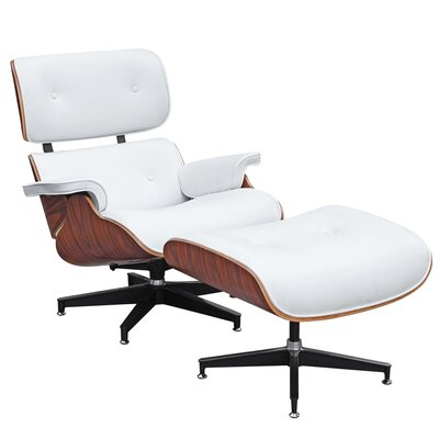 Ease Lounge Chair and Ottoman Upholstery: White