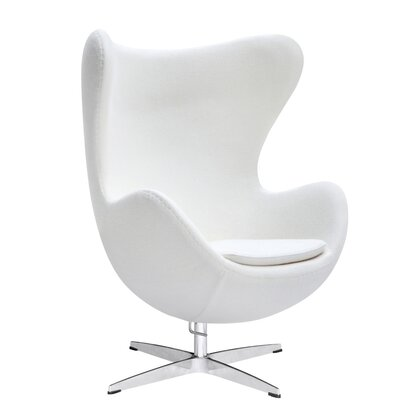 Inner Fabric Lounge Chair Upholstery: White