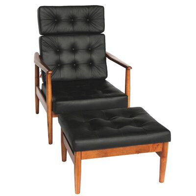 Vod Lounge Chair and Ottoman Set Color: Black
