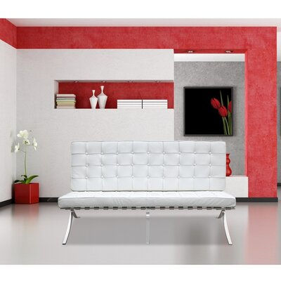 Pavilion Leather Loveseat Upholstery: White