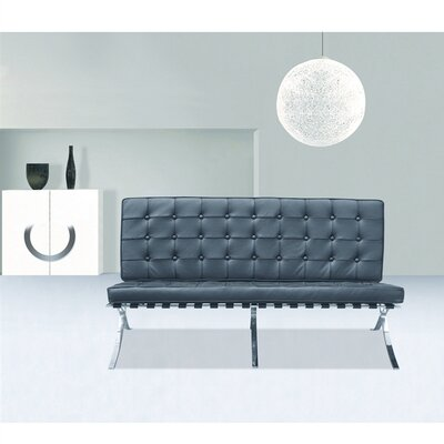 Pavilion Leather Loveseat Upholstery: Black