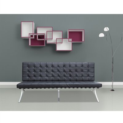 Pavilion Leather Sofa Upholstery: Black