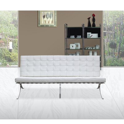 Pavilion Leather Sofa Upholstery: White