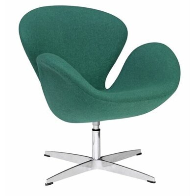 Swan Swivel Armchair Upholstery: Green