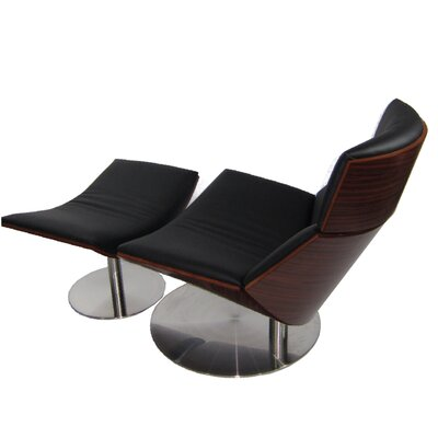 Impress Lounge Chair and Ottoman Set Color: Black