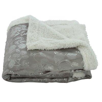 Noble House Garden Sherpa Throw Blanket Color: Gray
