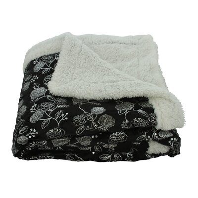Noble House Garden Sherpa Throw Blanket Color: Black