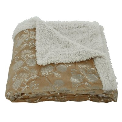 Noble House Garden Sherpa Throw Blanket Color: Mocha