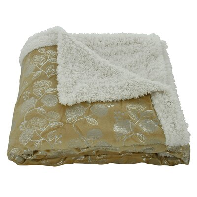 Noble House Garden Sherpa Throw Blanket Color: Gold