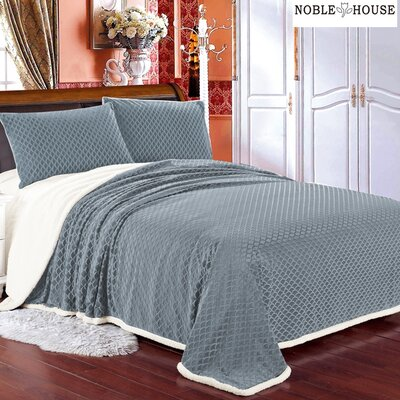 Mermaid Sherpa Blanket Size: Queen, Color: Gray