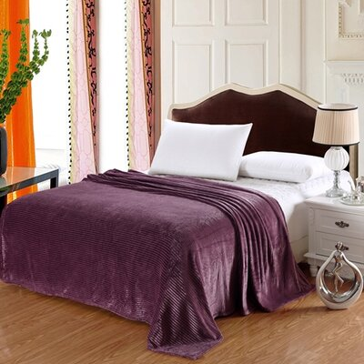 Premium Stripe Woven Fabric Blanket Color: Burgundy, Size: King