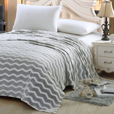 Chevron Throw Blanket Color: Gray, Size: King