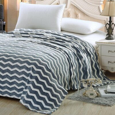Chevron Throw Blanket Color: Navy, Size: Queen