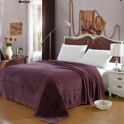 Premium Pinstripe Woven Fabric Blanket Color: Purple, Size: Queen