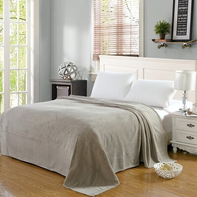 Premium Pinstripe Woven Fabric Blanket Color: Gray, Size: Full