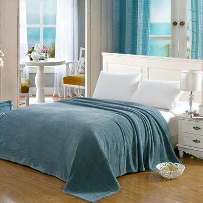 Premium Pinstripe Woven Fabric Blanket Color: Aqua, Size: Queen