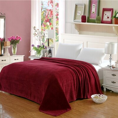 Premium Pinstripe Woven Fabric Blanket Color: Red, Size: King