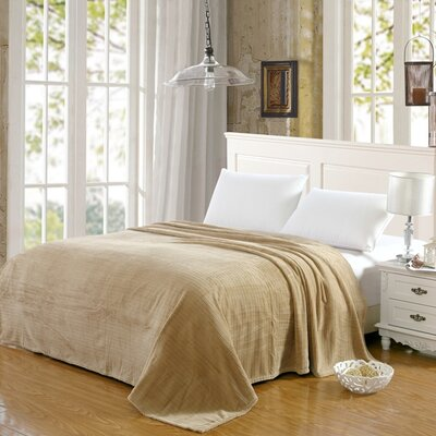 Premium Pinstripe Woven Fabric Blanket Color: Tan, Size: Queen